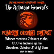 Enter your carved pumpkin for a chance to win TWO TICKETS TO THE OHIO STATE VS ILLINOIS FOOTBALL GAME on November 1st! The winner will also be coined by Maj. Gen. Deborah A. Ashenhurst and have their winning pumpkin recognized on this website, facebook and other social media outlets.