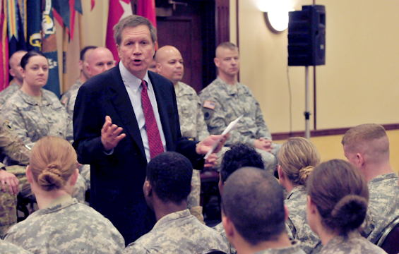 Ohio Gov. John Kasich speaks to Soldiers
