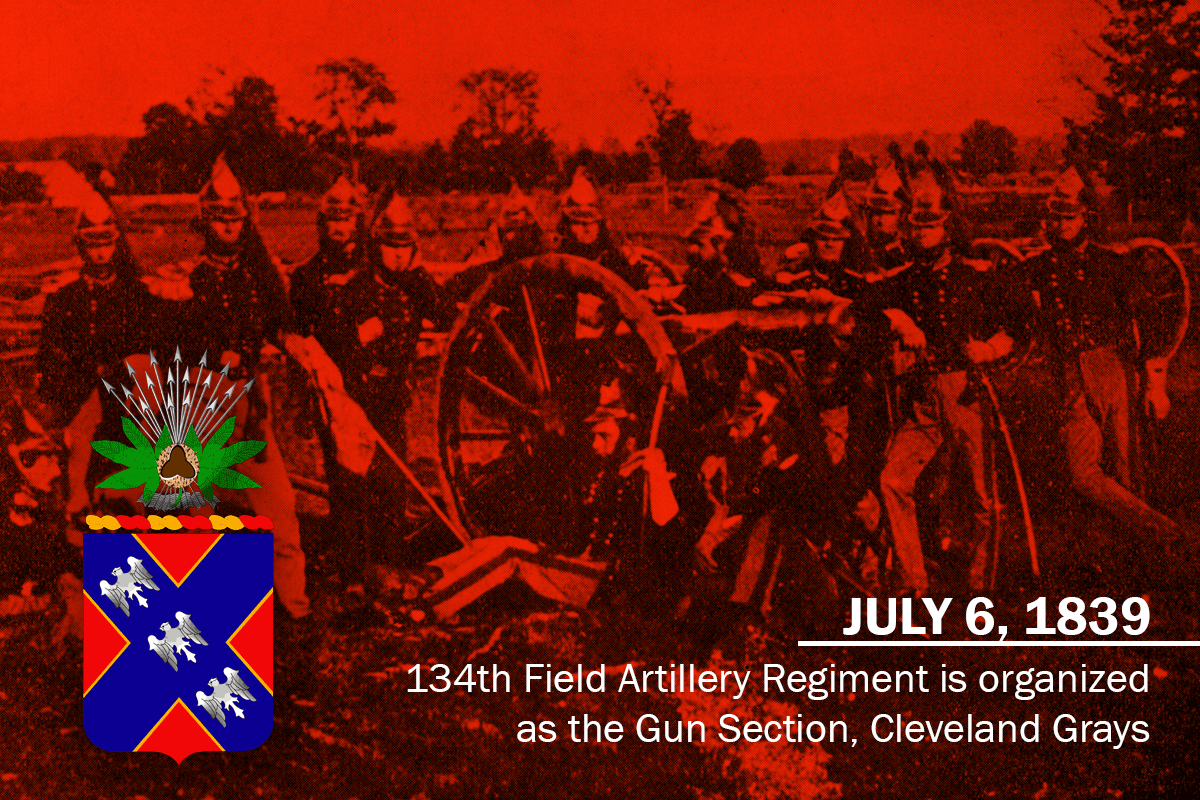 In this photo, the Cleveland Light Artillery is photographed in 1857 near the old Erie Street Cemetery in Cleveland.