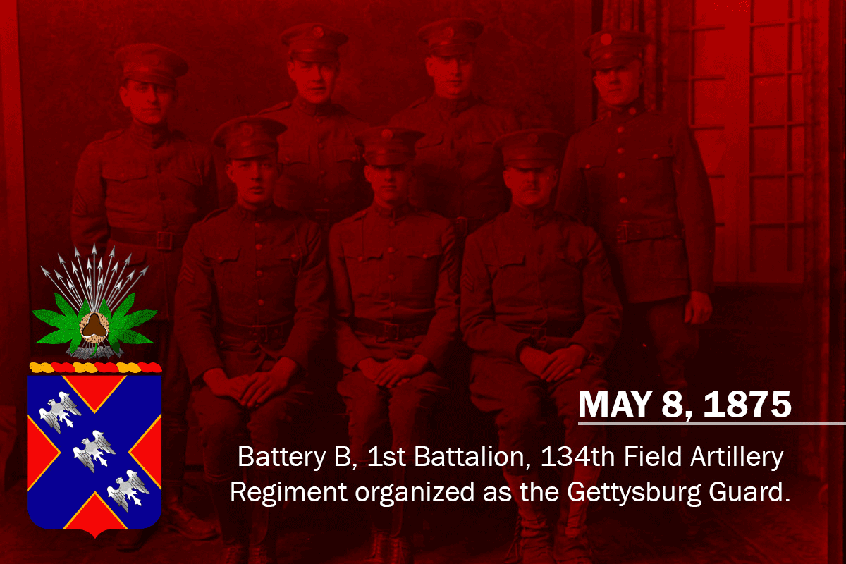 Graphic with Soldiers and insignia; READS: MAY 8, 1875 Battery B, 1st Battalion, 134th Field Artillery Regiment organized as the Gettysburg Guard.