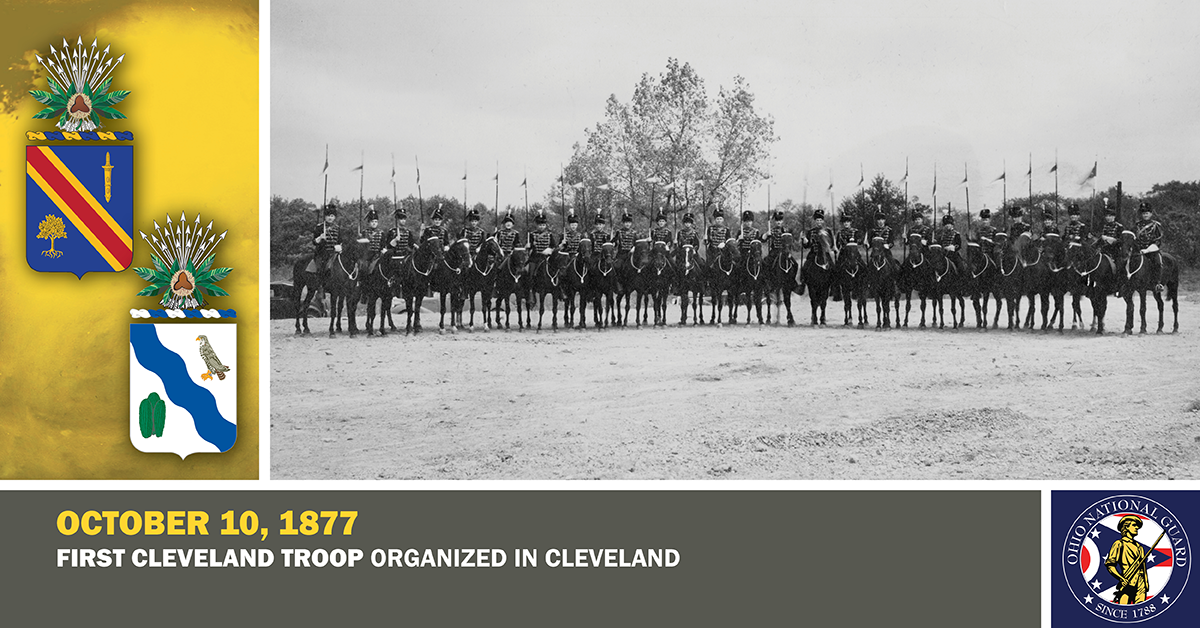 "In this circa 1935 photo, members of Troop A, 107th Cavalry are shown in their ceremonial Hussar uniforms that date back to the organization of the troop. The men are also mounted on black horses, a tradition that earned the troop its ""Black Horse Troop"" nickname."