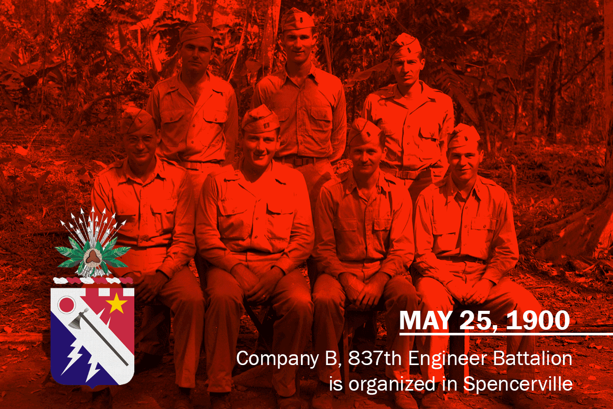 Soldiers in dress uniforms sitting for photo. Message reads: May 25. 1900. Company B, 837th Engineer Battalion