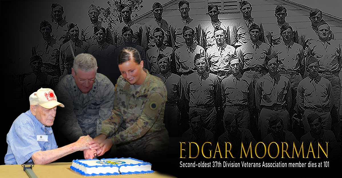 Collage of Egdar Moorman with troop and then cutting cake.