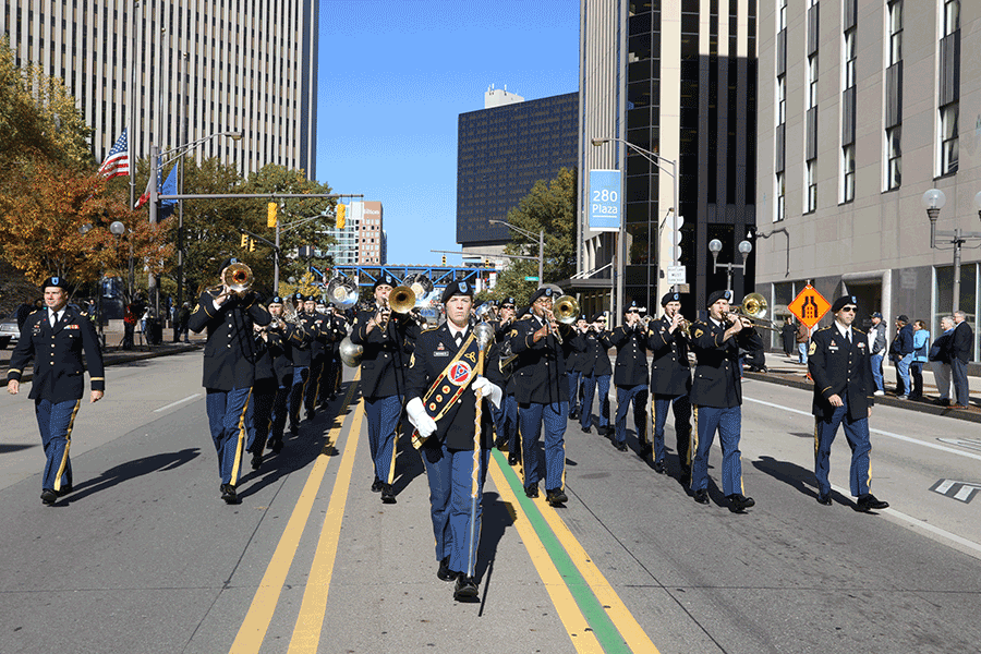 155 Marching band in parade