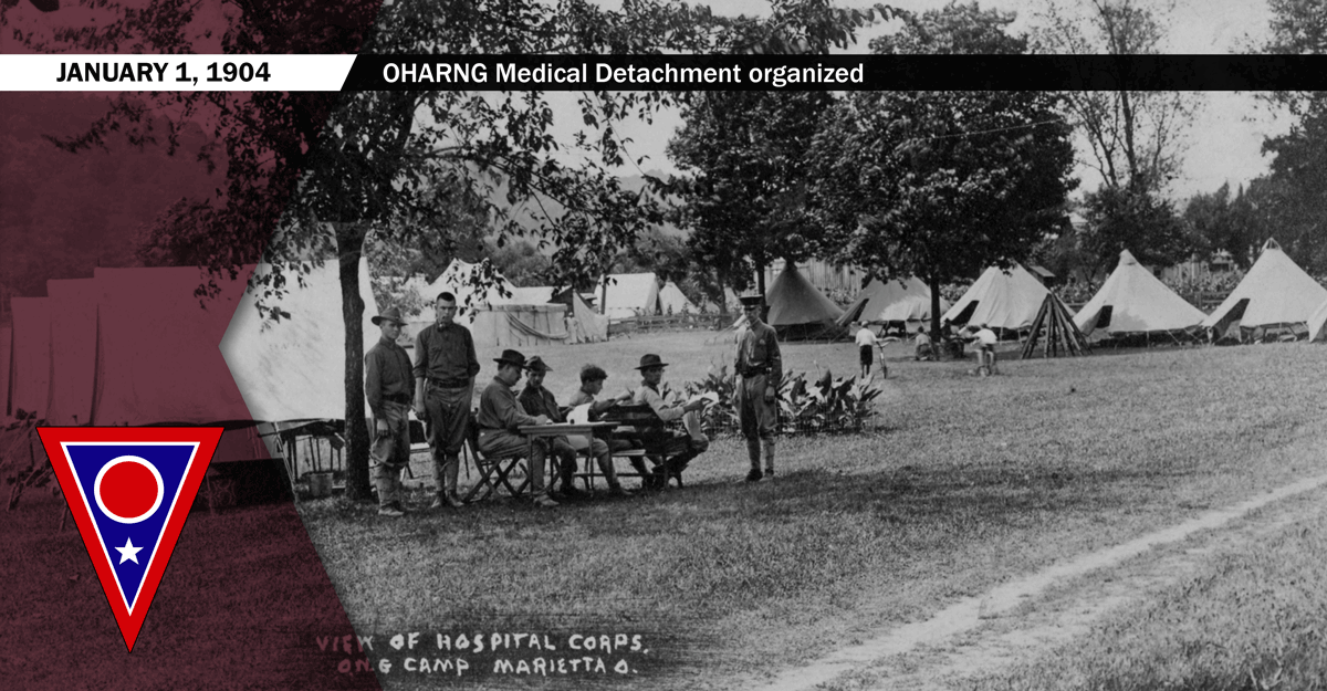 This photo shows a view of the Hospital Corps of the Medical Department in 1910 at Marietta, Ohio.