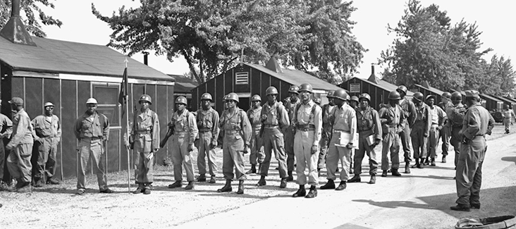 Soldiers from the 137th AAA Bn. stand in formation at Camp Perry.