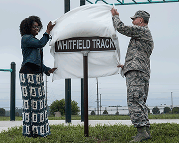 Airmen unveil Whitfield track sign