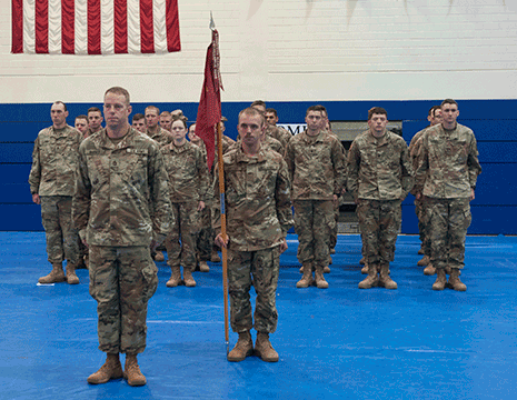 Soldiers with Battery C, 1st Battalion, 174th Air Defense Artillery Regiment, Ohio Army National Guard stand in formation