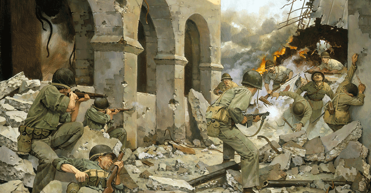 Painting depicts the action of Pvt. Billy E. Vinson who fought off a bayonet attack by six Japanese rifleman