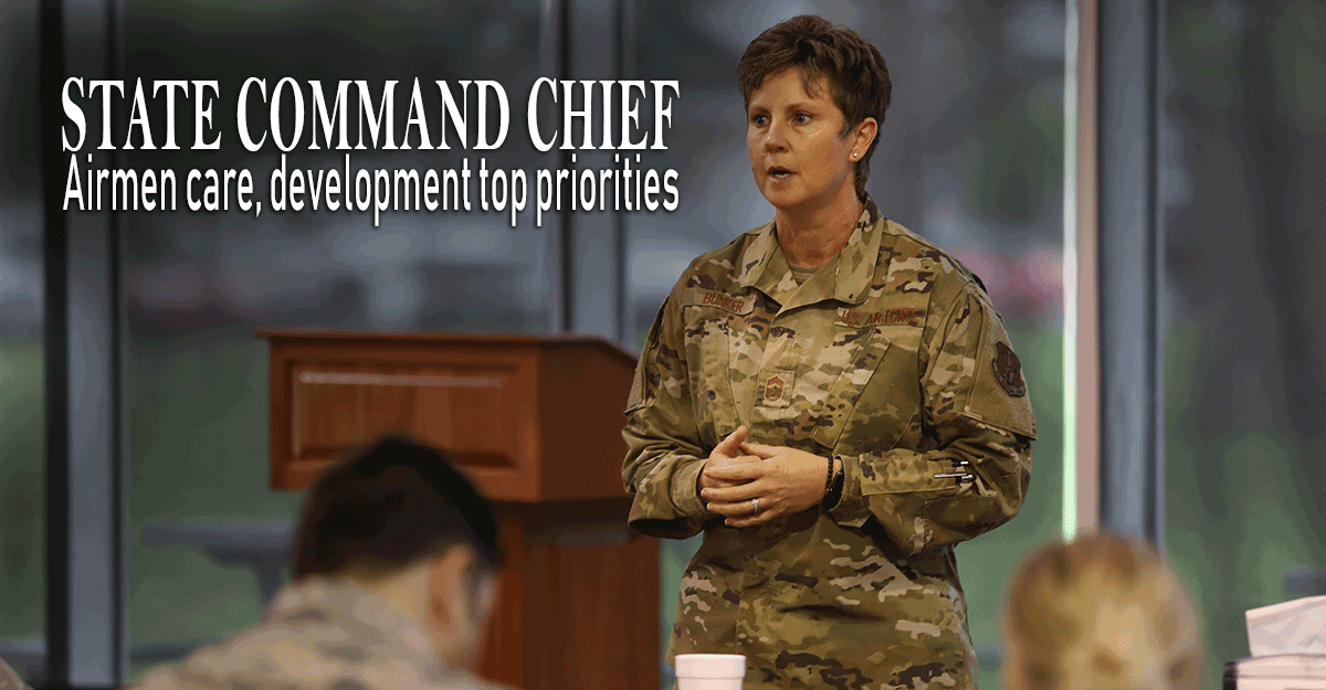 Chief Master Sgt. Heidi Bunker speaks to Airmen.