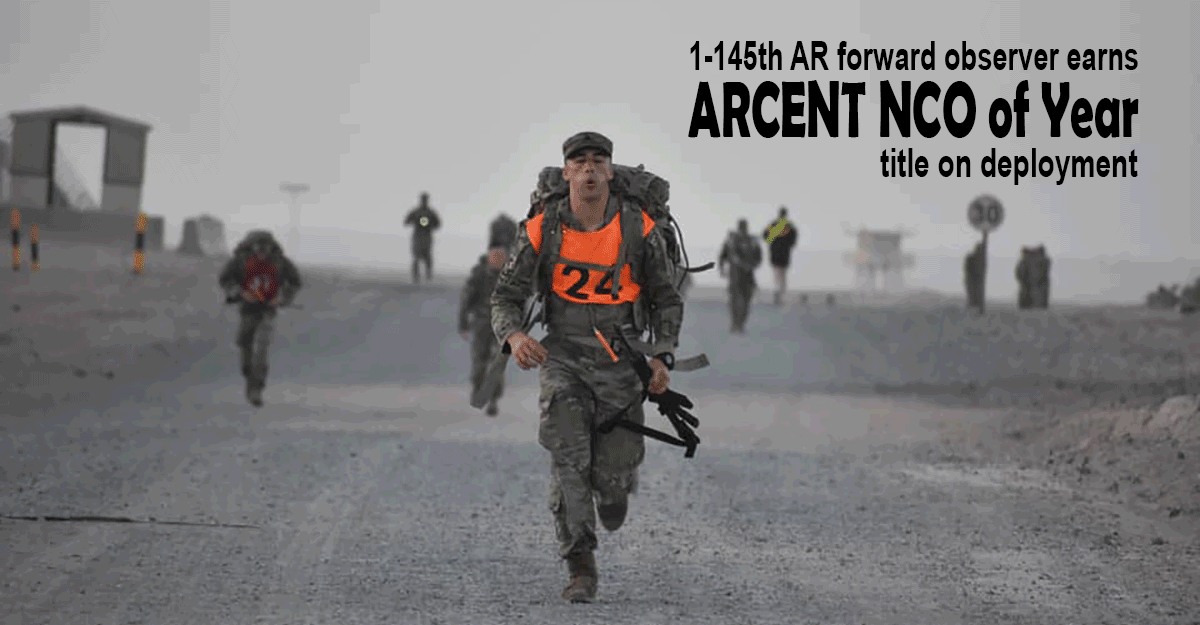 Amsden in full gear, rifle in hand, doning an orange vest with the number 24, running on road during competition.