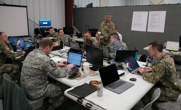The Ohio National Guard Cyber Mission Assurance Team (CMAT) conducts network assessments during exercise week of Cyber Shield 19, at Camp Atterbury, Ind., April 16, 2019. The Cyber Mission Assurance teams are being stood up by the National Guard to help secure the critical infrastructure that services Department of Defense installations. (Photo by Staff Sgt. George Davis)