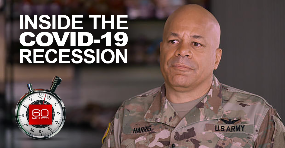 Maj. Gen. Harris with 60 MINUTES logo