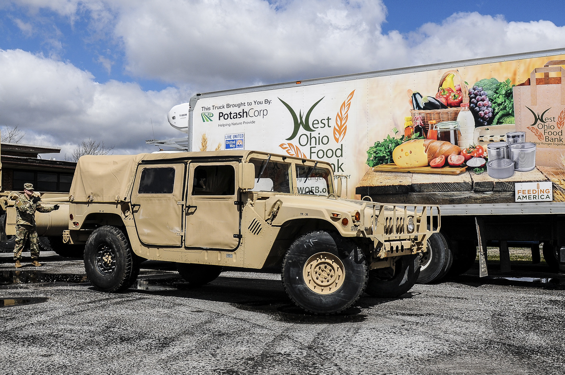 Humvee with food truck.